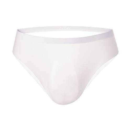 Moent Herren One-Piece 3D Höschen Nahtlose Eisseide Slips Unterhose Atmungsaktive Slips,Herren Sexy Unterwäsche Solid Intimates (Weiß,L)
