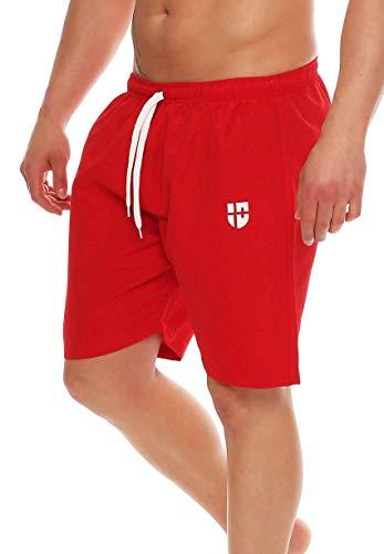 Gennadi Hoppe Herren Badeshorts Badehose Beach Shorts Schwimmshort,rot, X-Large