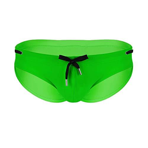 iiniim Herren Slips Elastische Bikini Briefs Badeslips mit Kordelzug Männer Badehose Panties Sport Baden Schwimmhose M-XXL Grün XXL