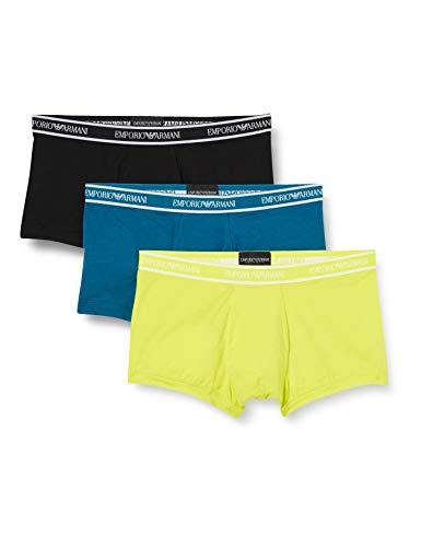 Emporio Armani Underwear Herren Multipack - Core Logoband 3-Pack Trunk Badehose, Gelb (Sole/BALTICO/Nero 08960), X-Large (Herstellergröße:XL)