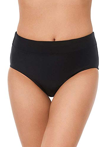 Reebok Damen Bademode Sport Fashion Solid Basic Brief Badeanzug Badehose - Schwarz - 40