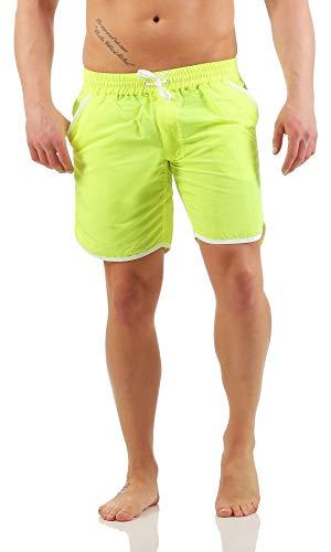 Mivaro Herren Badehose ohne Innenslip mit tiefen Taschen und schnell trocknend | Badeshorts ohne Netz, Größe:L, Farbe:Neongelb
