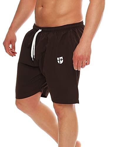 Gennadi Hoppe Herren Badeshorts Badehose Beach Shorts Schwimmshort,braun, Medium