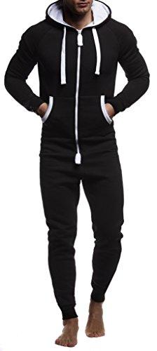 Leif Nelson Herren Overall Jumpsuit Onesie Trainingsanzug Jogginghose Trainings T-Shirt Fitness Stringer Bekleidung LN8154; Größe XL; Schwarz-Weiss