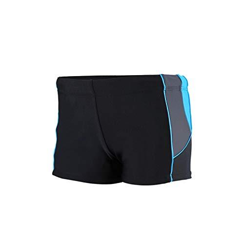 Aquarti Jungen Kurze Badehose mit Einsätze Seitlich, Farbe: Schwarz/Graphit/Blau, Größe: 158