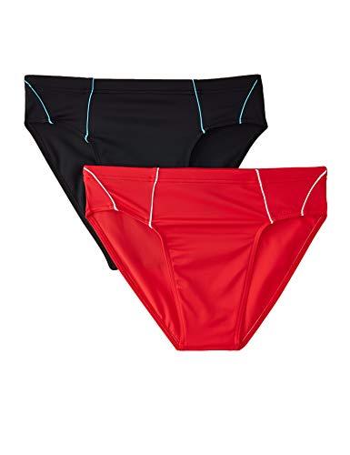 Amazon-Marke: find. Herren Kt200 Badehose/Badeslip, 2er-Pack, Mehrfarbig (Black/Red), XL
