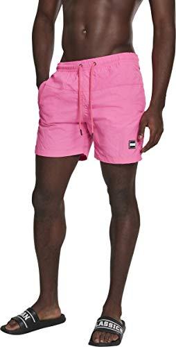 Urban s Herren Swim Badehose Badeshorts Block Swim Shorts Badehose, neonpink, 5XL