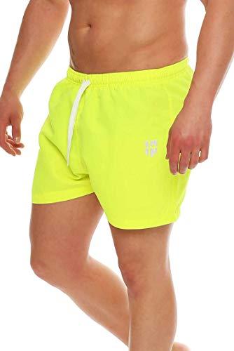 Gennadi Hoppe Herren Badeshorts kurz Badehose Strand Shorts Boardshorts,neon gelb,Medium