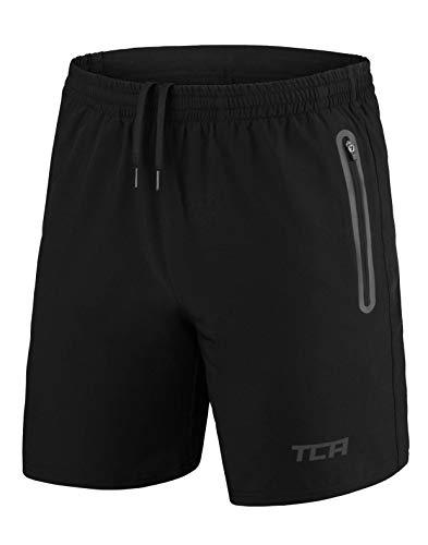 TCA Elite Tech Herren Trainingsshorts für Laufsport mit Reißverschlusstaschen - Schwarz - M