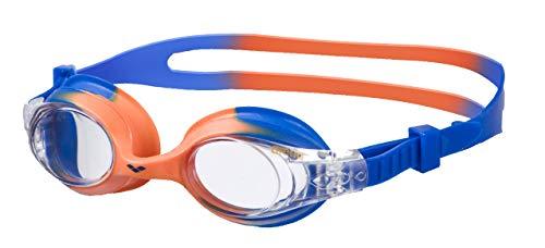 arena Kinder Unisex Training Freizeit Schwimmbrille X Lite Kids (UV-Schutz, Anti-Fog, Harte Gläser), mehrfarbig (Blue Orange-Clear), One Size