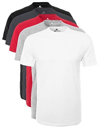 Lower East Herren T-Shirt mit Rundhalsausschnitt, Mehrfarbig (Weiß/Grau Melange/Rot/Forged Iron/Schwarz), X-Large, 5er Pack