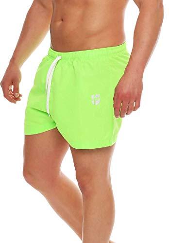 Gennadi Hoppe Herren Badeshorts kurz Badehose Strand Shorts Boardshorts, neon grün, L
