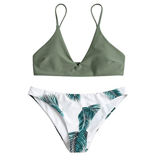ZAFUL Damen Push Up Gepolsterter Bikini-Set Blatt Drucken Badehose Bademode Badeanzug Tarnung Grün S