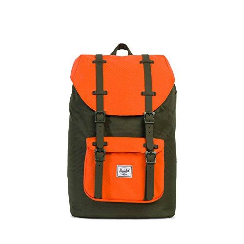 Herschel Little America Rucksack, Forest Night/Vermillion Orange / Forest Night Gummi (Grün) - 10020-01574-OS