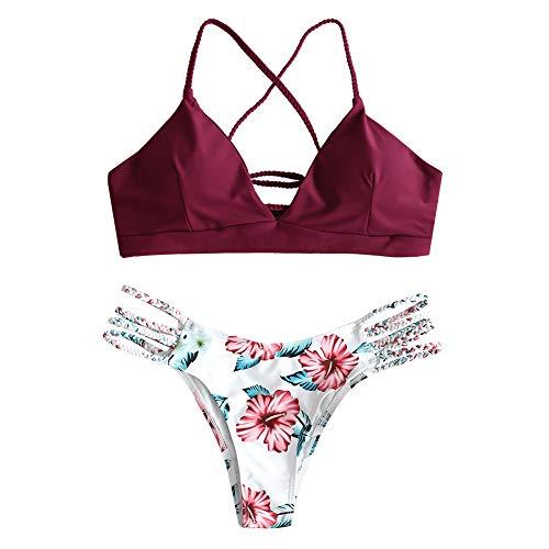ZAFUL zweiteilig Bikini-Set mit verstellbarem BH Push-Up Rücken, Triangle Bustle Badehose mit Blummenmuster (Weinrot, S)