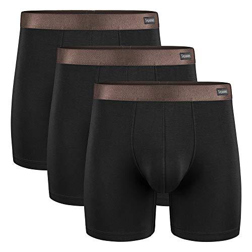 Separatec Herren Boxershorts Glattes Bambus-Rayon mit separaten Beuteln Unterwäsche Boxershorts Stilvolle Badehose, 3er-Pack,L,Lange Beine: Schwarz