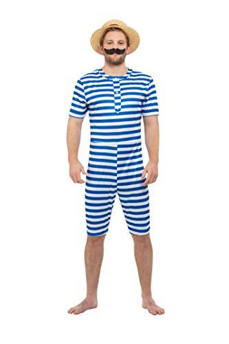 My Illusions 1920er-Jahre-Badeanzug für Herren, viktorianischer Stil, mit Hut, Blau und Weiß