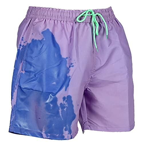 Mingsheng Badehose für Herren, Sommer, Strand-Shorts, Temperaturempfindlich, Farbwechsel, Badehose mit Kordelzug, schnelltrocknend, Wassersport-Hose, S-3XL, violett, 4XL