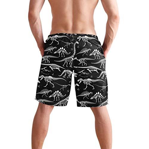 QUEMIN Herren Strand Badehose Schwarz-Weiß Dinosaurier Skelett Boxer Badeanzug Unterwäsche Boardshorts mit Tasche, Größe XL