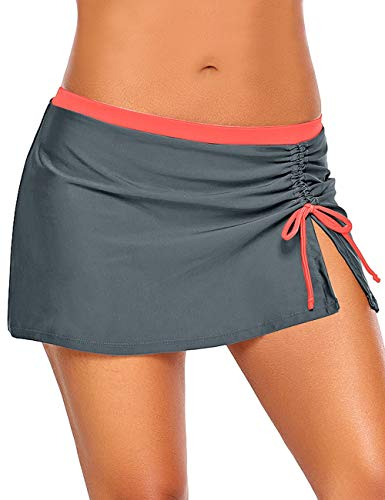 luvamia Women's Swim Skirt Side Slit Self Tie Swimsuit Bottom Solid Grey with Fusion Coral Large (Fits US 12 - US 14)