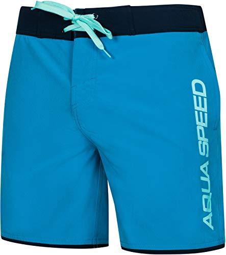 Aqua Speed Badeshorts Herren   Boardshorts für Surfer   Board Shorts   Badehose Männer   Moderne Blaue Schwimmhose   Mens Swimwear   Schwimmshort   Swim Trunks   Surfen   Gr. S, Blau   Evan