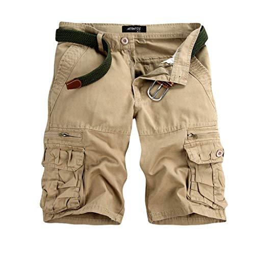 GreatestPAK Pants Pure Color Shorts Herren Outdoor Taschen Strand Arbeit Hosen Cargo Pant,29(XXS),Beige