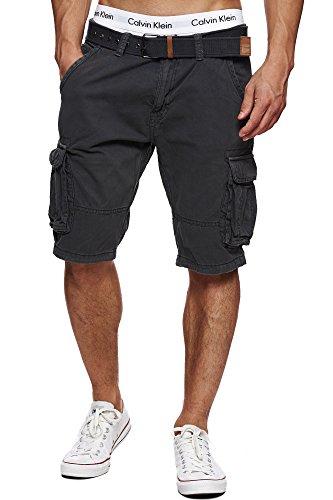 Indicode Herren Monroe Cargo ZA Shorts m. 6 Taschen inkl. Gürtel aus 100% Baumwolle | Kurze Hose Bermuda Sommer Herrenshorts Short Men Pants Cargohose kurz Sommerhose f. Männer Raven L