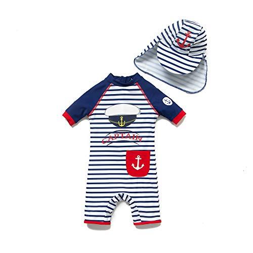 BONVERANO Baby Junge EIN stück Kurzärmel-Kleidung UV-Schutz 50+ Badeanzug MIT Einem Reißverschluss, Blau-junhüte, 62-68