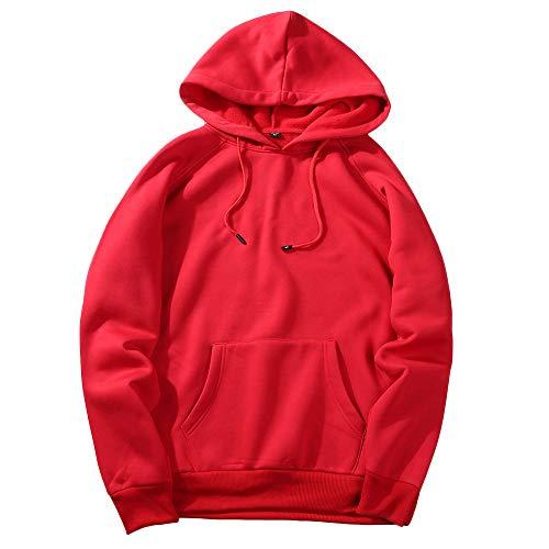 UJUNAOR Herren Langarm Hoodie T-Shirt Kapuzenshirt Mit Kapuze Männer Pullover in Vielen Farben (M, Rot)