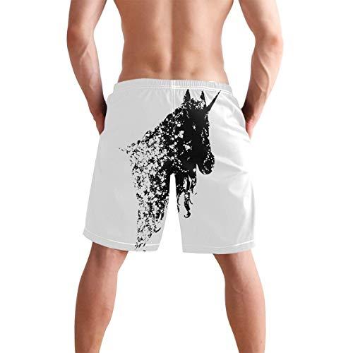 QUEMIN Sommer Herren Strand Badehose Schwarz-Weiß Einhorn Pferd Boxer Badeanzug Unterwäsche Boardshorts mit Tasche (XL)