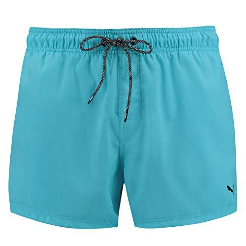 PUMA Herren Badehose Badeshorts Logo Short Length Swim Shorts, Farbe:Aqua, Bekleidungsgröße:L