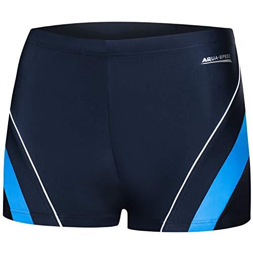 Aqua Speed Boxer Badehose für Herren | Schwimmhose UV | Badepants | Coole Trunks | Swim Pants Men I Männer Swimwear I Moderne Badebekleidung I Schwimmen I Dennis, Gr. XXXL, 42/Navy Blue