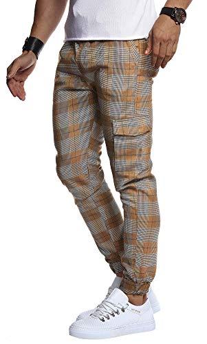 Leif Nelson Herren Jogger Chinos Cargo Stretch Jogging Männer Basic Jogg Cargohose Streifen Jogginghose Jungen Freizeithose Jeans-Hosen Sweatpants Streifen Chinohosen LN8291 Braun Large