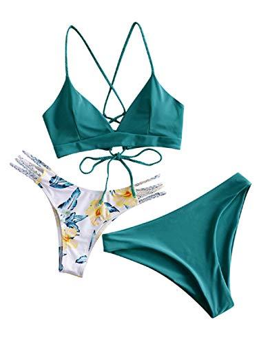 ZAFUL Damen Bikini-Set mit Flechtgurt verstellbarem BH Push-Up Rücken, Triangle Bustle Badehose mit Blummenmuster (Grün-1, M)