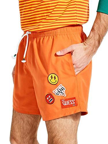 Guess Badeshorts für Herren, Orange, Patch, Größe L / XL / F3/130, Orange L