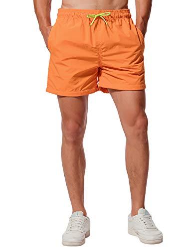 CHYU Herren Badeshorts Badehose Beachshorts Schwimmhose Schnelltrocknend Shorts Sporthose mit Mesh-Futter und Verstellbarem Tunnelzug (Orange, M)