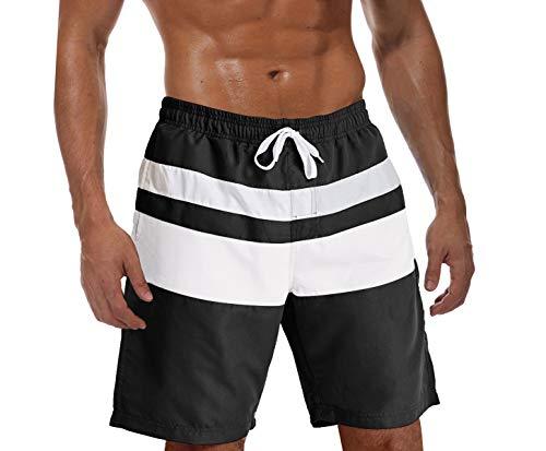 KEFIETVD Herren Kurze Badehose Sommer Shorts Polyester Kajak Hose Boardshorts Gummibund Quick Dry Badeshorts Knielang Casual Schwarz-Weiß 2XL