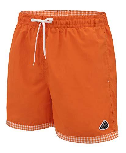 Mount Swiss hochwertige Männer Badehose Lukas mit Sun-Protection I Moderne Badeshorts Farbe orange, Gr. 5XL