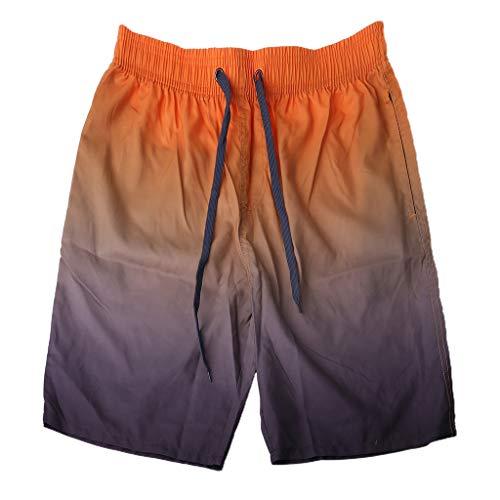 YOYOHO Herren Sommer Badehose Schnelltrocknende Farbverlauf Kontrastfarbe Kordelzug Strandshorts - XL # Orange + Kaffee