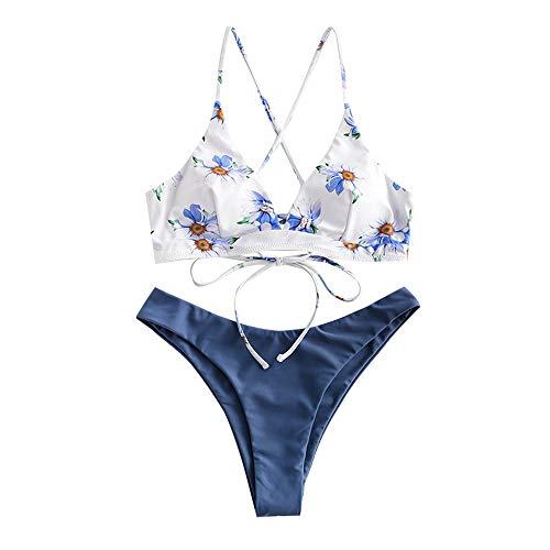 ZAFUL zweiteilig Bikini-Set, Blumenmuster Frauen drucken Push-Up gepolsterter BH Beach Bikini Set Triangle Badehose (Seidenblau, M)