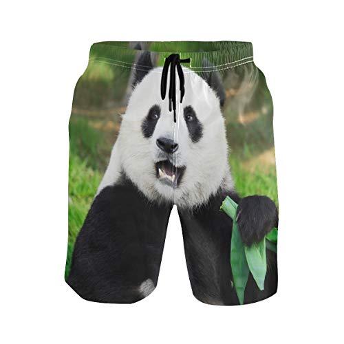 Animal Panda Lustige Badehose für Männer Jungen Strandshorts mit Taschen Quick Dry Gr. L/XL, mehrfarbig