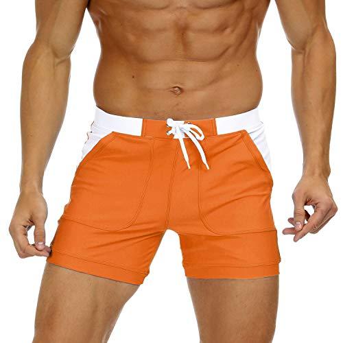 KEFITEVD Badehose Herren Kurz Eng Badeshorts Männer Boxer Stretch Shorts mit Taschen Schwimmhose Bodyfit Boardshorts Patch Lässig Sommerhose Orange 34