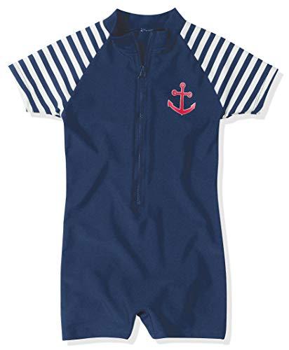 Playshoes Jungen Schwimmanzug Badebekleidung UV Schutz- Maritime, marineblau/weiß, 86/92 (1-2 Jahre), 460111