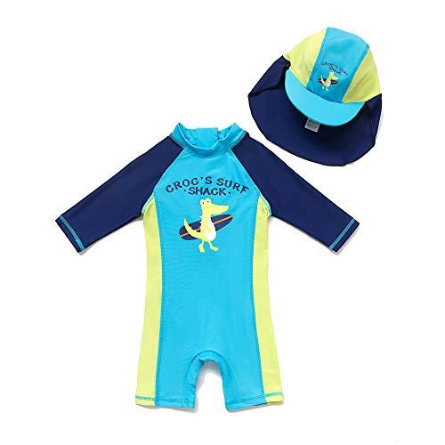 BONVERANO Baby Junge EIN stück 3/4 der ärmellänge UPF50+ Badeanzug MIT Einem Reißverschluss(Blau-KDinosaurier,12-18M)
