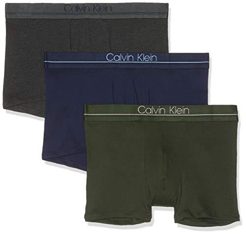 Calvin Klein Herren Badehose, 3-er Packung, Beige (PEACOAT/ CHARCOAL H/ DUFFEL BAG NXB), Large (Herstellergröße:L)