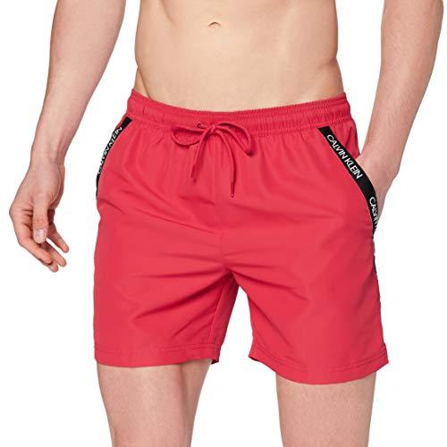 Calvin Klein Herren MEDIUM Drawstring Badehose, Rot (Lipstick Red 654), (Herstellergröße: M)