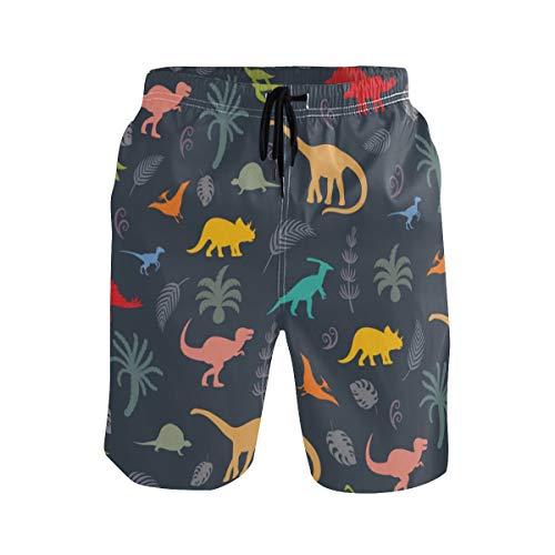 Dinosaurier Silhouette Animal Dino Herren Badehose und Trainingsshorts Badeanzug oder Athletic Shorts - Erwachsene Jungen S.