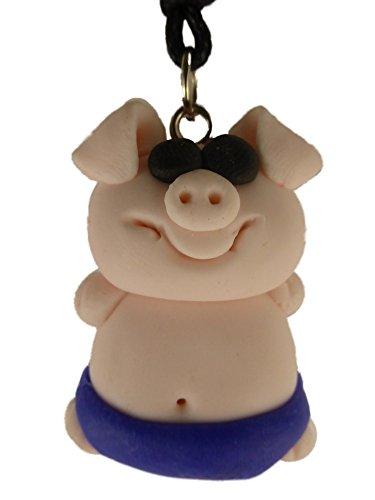 Kette Halskette mit handgemachter Figur rosa / blau Schwein in Badehose Schweinchen 1193