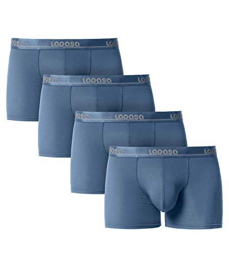 LAPASA Herren Boxershorts 4er Pack Micro Modal Unterhosen Unterwäsche Männer Retroshorts M02 MEHRWEG (L, Navy Blau)
