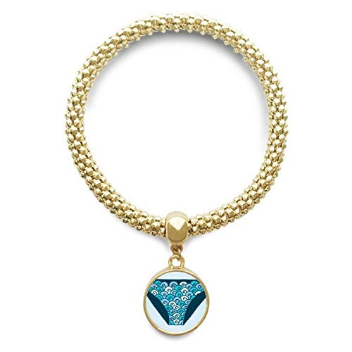 DIYthinker Damen Blau Badehose Illustration Muster Goldene Armband Laufende Anhänger Schmuck-Kette